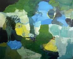 """Série """"fleurs-paysage2"""" peinture sur toile, 130 x165 cm"""