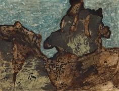 La Baie de la Bourboule - Café, calque, peinture à l'huile et encre sur papier - 32x24,5 – 2017