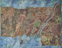 Ville portuaire - café, calques imprimés, peinture à l'huile, feutre sur support bois - 115x90 - 2015