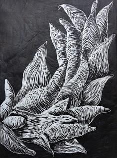 Feuillage, Gravure sur bois, 40 x 50 cm, 2018