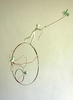 L'homme aux oiseaux, 50 x 50 cm - 400 €