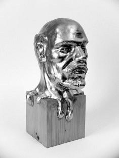 Lénine dans la couleur, sculpture en argile dorée à la bombe, exemplaire unique, 10x15x25cm, 2016