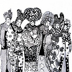 Mariane Mazel, Demoiselles en noir et blanc