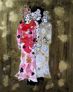 Mariane Mazel, Demoiselles en rose et doré