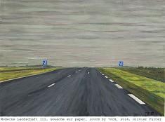 (Français) Olivier Furter, Moderne Landschaft III, 100x70 cm, gouache sur papier, 2018
