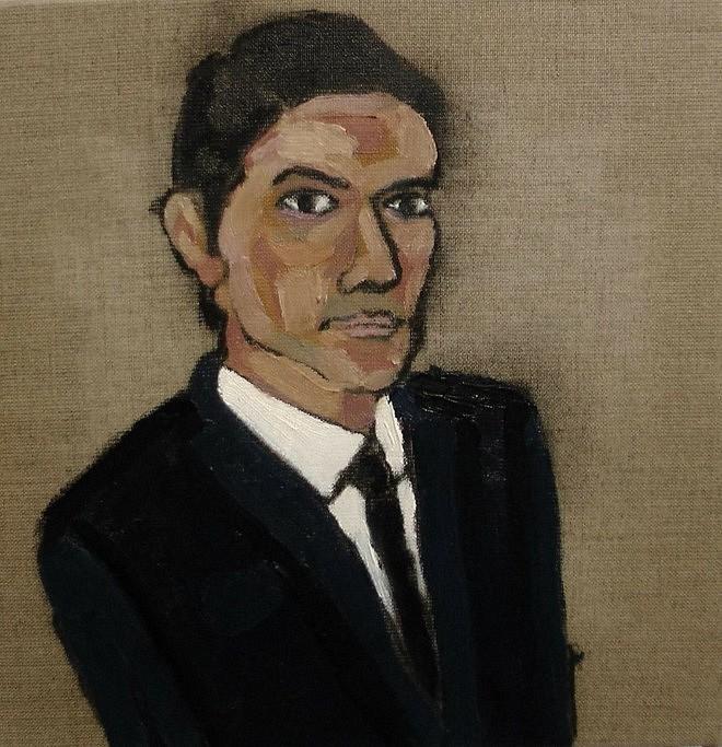 Juan Diego Vergara, Juan Diego Vergara  est agent de surveillance au Musée Picasso (Autoportrait), Huile sur Toile, 50 x 50 cm.