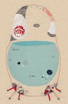 Annalisa Bollini, Giugno (broderie, collage et acrylique, 22 x 33,5 cm)