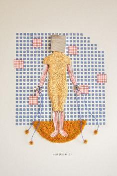 Christophe Horlain, Corps sans voie, assemblage & bas relief, 30 x 40 cm