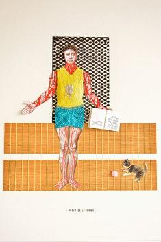 Christophe Horlain, Droit de l'Homme, assemblage & bas relief, 30 x 40 cm