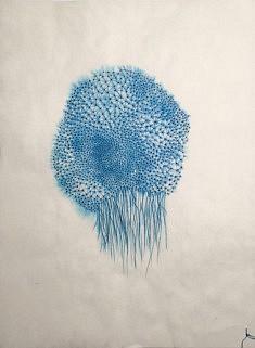 Joëlle Bondil, Maillage 6, encre à la plume sur papier de riz : 24 x 33 cm