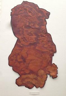 Michèle Rizet, La Ferrugineuse, roche volcanique des Açores, Peinture sur kraft renforcé, 120 x 60 cm
