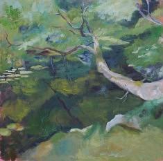 Charlotte Barrault, Jardin Zen 2, huile sur toile, 80 x 80 cm