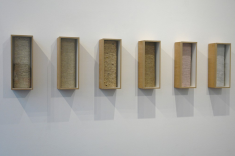 Cécile Bourdais, Essences variées, 2015, 6 boîtes en bois et verre papier