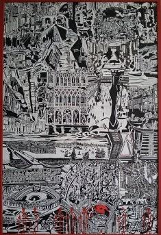 Alain FOISSY, Venise déstructurée gouacheacryliquelinogravure 120X 80 cm