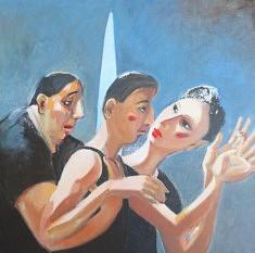 Huguette GALANTE, conversation.acryl .sur .toile40x40 cm