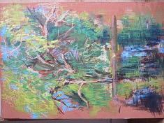 Sandra LAPLACE CLAVERIE, saule pleureur, huile sur papier 65x46 marouflé