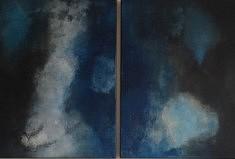 Maryse Béguin, Etrange rencontre, 2018 80x120cm Pigments acrylique et sable