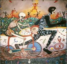 (Français) José Castillo, La Mort à bicyclette, huile sur toile , 200 x 200cm, 2000