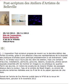 Art Absolument parution le 8 novembre 2012