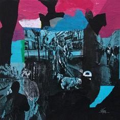 Série Digital Street Wall, DSW - I, technique mixte sur toile, 60x60x5cm, 2019