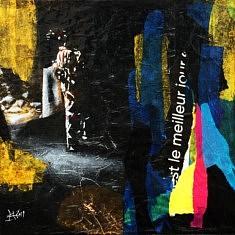 Série Digital Street Wall Sol, DSWSOL - I, technique mixte sur toile, 30x30x5cm, 2019