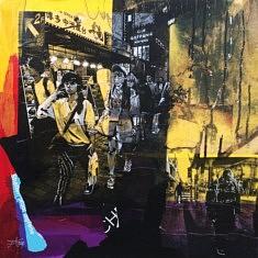 Série Digital Street Wall, DSW, technique mixte sur toile, 50x50x10cm, 2019