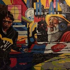 Série Passeporte : Voyage autour d'un visage(je), technique mixte et huile sur toile, 100x100x5 cm, 2016.