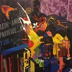 Série Anges et démons, N2, technique mixte sur toile, 100x100x5cm, 2018