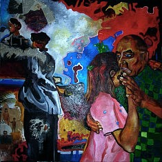 Série Danse, I, huile sur toile et technique mixte, cm.100x100, 2013.