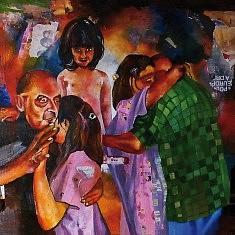 Série Danse, II, huile sur toile et technique mixte, cm.100x100, 2013.