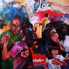 Série Danse, III, huile sur toile et technique mixte, cm.100x100, 2013.