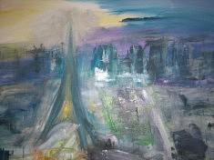 """SERIE """"Le ciel de Paris"""" Technique mixte    2011      60x72 cm"""