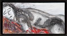 """""""Corps rouge"""" Technique mixte - 2008  80x40 cm"""