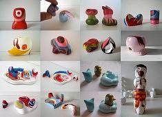 Les Petis, les socles et les moulages - argile, plâtre, acrylique, vernis - de 1 à 15 cm de haut