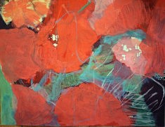 """Série """"mes fleurs 2"""", peinture sur papier (sous-verre) 65x55cm"""