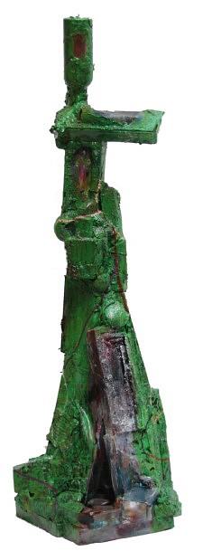 """""""Relief 66a"""" Sculpture - Huile sur objets (100x40x36) 2006"""