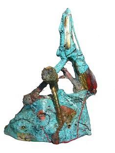 """""""Relief 115c"""" Sculpture - Huile sur objets (50x50x70) 2011"""