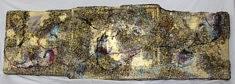 """""""Relief 164"""" Huile sur toile, feuilles  de thé et cadre (46x143x9) 2016"""