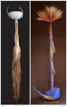 esprits hybrides terre-ciel et eau-feu. H= 2,40m