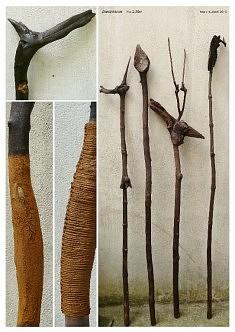 Jiwiantenas (h: env 2m10) bois, terre crue, lin, éléments minéraux et végétaux.