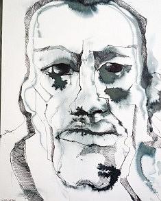 """""""forêt"""" encres sur papier aquarelle sur bois 30X38"""