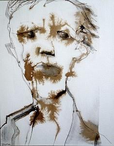"""""""old man 2"""" encres sur papier aquarelle sur bois 30X38"""