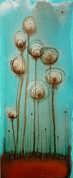"""""""bouquet"""" encres et pastels sur papier sur bois (petit format)"""