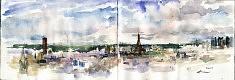 Ciel de Paris aquarelle sur carnet juillet 2017