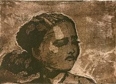 Jeune fille gravure eau-forte, aqua-tinte , pointe sèche 2016