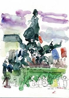 Place de la Nation 1/05/17 aquarelle in situ
