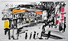 Métro Barbès Monotype à l'huile sur papier BFK Rives 2016