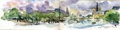 Quai Henri 4 Paris aquarelle sur carnet juillet 2017