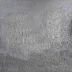Forêt blanche, Technique mixte sur bois 40x40cm