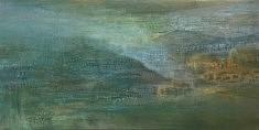 Vallée nuage,Technique mixte sur bois 60X120cm
